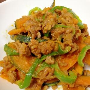 ひき肉とかぼちゃの甘味噌炒め