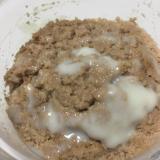 ココアで豆腐蒸しパンの練乳かけ