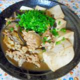 豚肉とナスのシイタケ風味肉豆腐