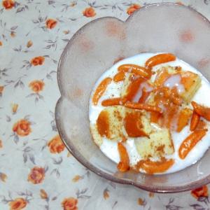 チーズケーキと柿の種の練乳ヨーグルト