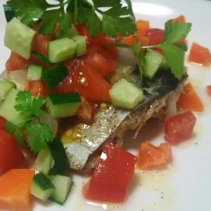 レンジでチン♪お洒落なハーブ香る鯖の野菜添え