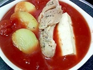 鶏もも肉ジャガイモ豆腐トマトスープ