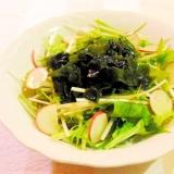 水菜とわかめのサラダ(簡単ポン酢ドレッシング)