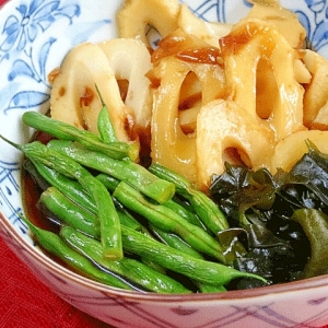 お惣菜☆ 「ちくわとインゲン黒酢甘辛煮」