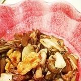 簡単 秋はきのこ 舞茸とクルミの温マリネサラダ