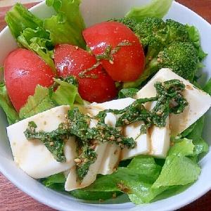 ポン酢で簡単中華ドレッシングの冷奴サラダ