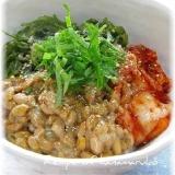 めかぶ・納豆・キムチの三色丼で夏バテ対策!