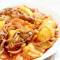 しゃぶしゃぶ肉とジャガイモのトマト煮