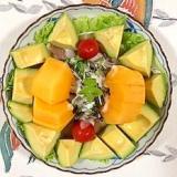 生ハム、柿、アボガド、レタス のサラダ