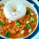 炒り大豆ブロッコリー添え豚トマトハヤシライス