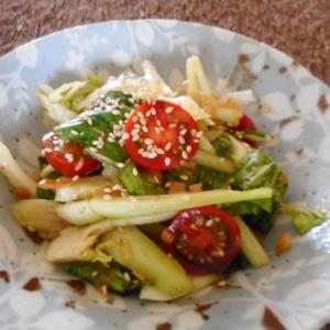 チンゲン菜とセロリとミニトマトの中華サラダ