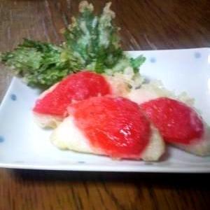 紅生姜とかまぼこの天ぷら