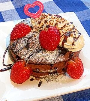 バレンタインに♪簡単ラブリーチョコパンケーキ♪