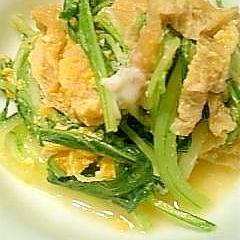 麺つゆ使って簡単!水菜と油揚げの卵とじ♪