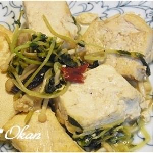 豆腐とキノコのオリーブポン酢炒め