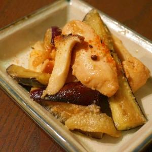 鶏胸肉とナスとエリンギのゴマ味噌炒め