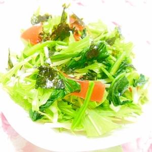 ❤水菜とトマトとほうれん草と韓国海苔のサラダ❤