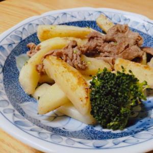 牛肉とじゃがいもとブロッコリーの炒め物