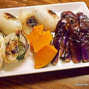 淡路島玉ねぎのチーズ紫蘇はさみグリル&野菜のグリル