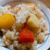 ジャガ芋薩摩芋人参の炊き込みご飯