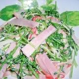 豆苗とハムのサラダ