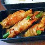 豚肉の野菜ポテト巻き