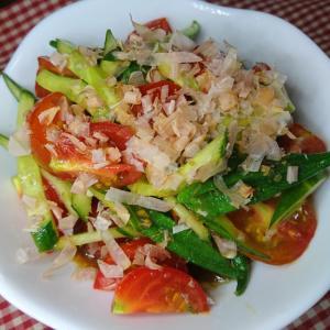 オクラときゅうりとトマトの和風サラダ