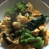 卵、ほうれん草、ブロッコリーの塩炒め