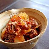 鶏モツの韓国煮