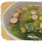 白菜とコーンとウインナーのスープ