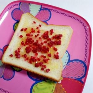 おやつトースト☆ラズベリーのはちみつバタートースト