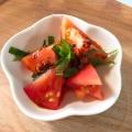 トマトのチョイ辛かつおポン酢しょうゆ和え