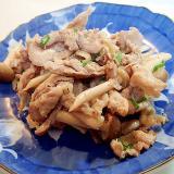 豚かた肉としめじと葱の白だし炒め