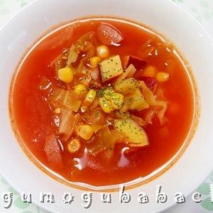 キャベツとさつま芋のトマトスープ