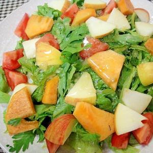 リンゴと柿春菊のレモン風味サラダ