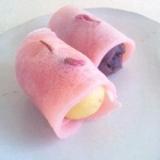 関東風桜餅(サツマイモ&粒あん)