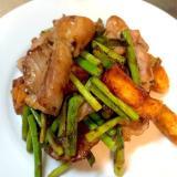 豚肉とニンニクの芽のオイスターソース炒め*