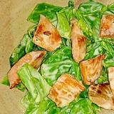 鮭のオリーブ焼きと春キャベツのレモンマヨサラダ
