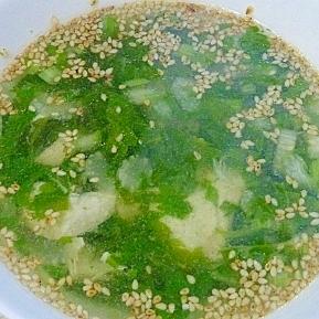 ささみとセロリの葉の中華スープ