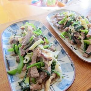 キャベツ牛肉小松菜しょうが炒め