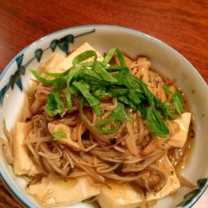 【豆腐のきのこあんかけ】梅しそ味でさっぱり♪