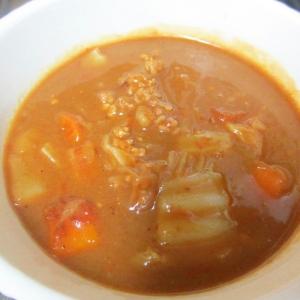 圧力鍋で白菜とひき肉のミルクカレー