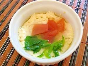 離乳食 レンジで簡単♪トマトと菜の花の茶碗蒸し
