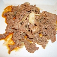 牛肉のにんにく炒めかき醤油がけ