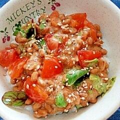納豆の食べ方-トマト&錦松梅♪