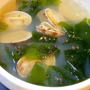 アサリわかめスープ