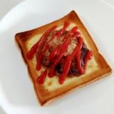 ボリューム満点☆ハンバーグチーズトースト