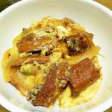 さんまの蒲焼き缶詰の卵とじ丼!めんつゆで簡単!