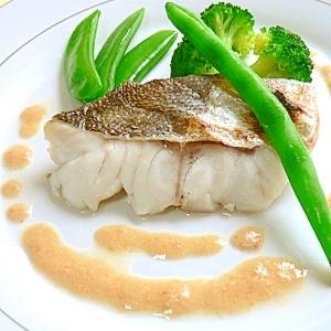 白身魚と緑野菜のグリル☆えびソース