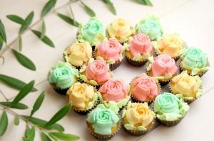 母の日に♪3D口金を使った花束カップケーキ